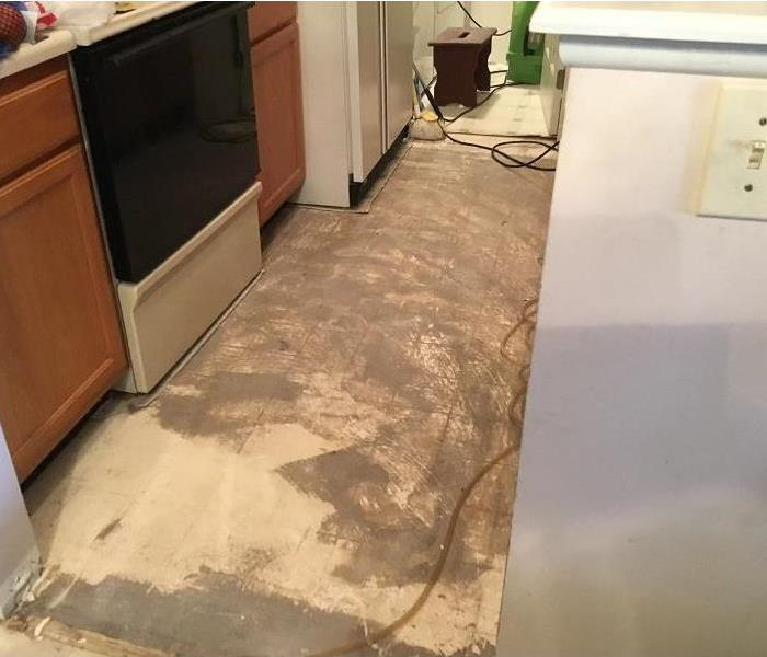linoleum flooring removed after water damage