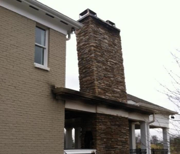 Leaning Chimney After Fire At Crestview Hills, Kentucky Home