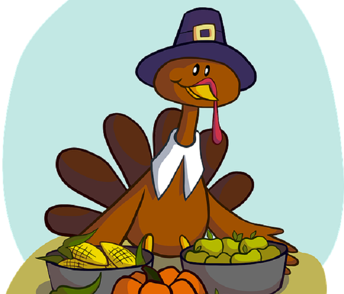 Cartoon drawing of turkey wearing a pilgrim hat and holding pots of corn and apples.