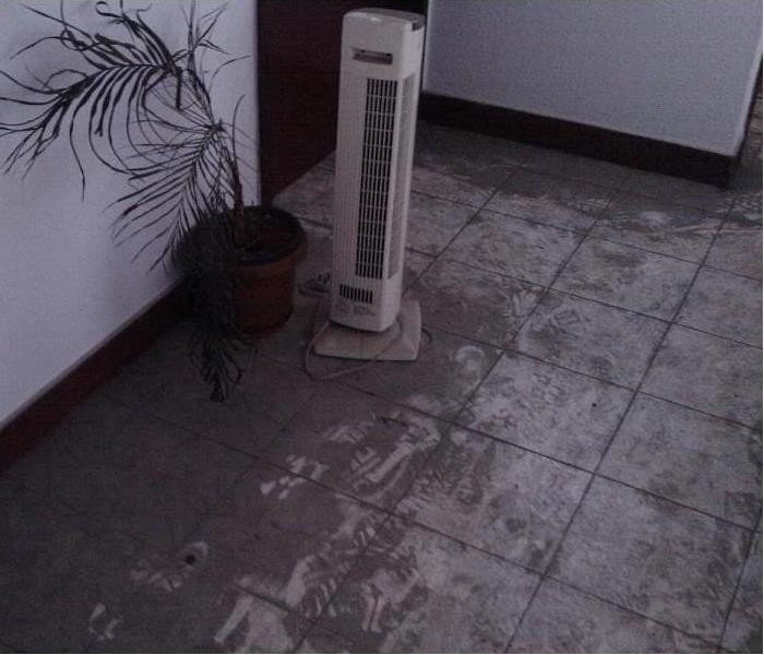 Tile floor covered with soot.